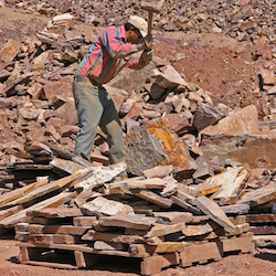 Miner at work on at a quarry on public land in Idaho in 2004. Efforts to update and reform hard rock mining law have been perennial in recent decades, with only a few minor successes.