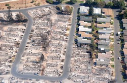 An aerial view of the homes burnt to the ground by the wildfires in Santa Rosa, Calif.