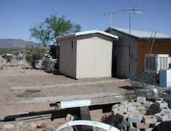 Modular bathrooms at a colonia on the southern Arizona border, where the homes were built earlier without indoor plumbing, due to a lack of access to treatment facilities. Estimates for the population of such border communities at half a million people.