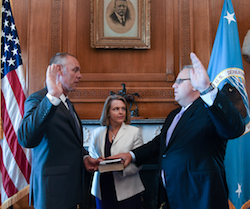 Interior Secretary Ryan Zinke swearing in David Bernhardt deputy secretary Aug. 1, 2017. Bernhardt most recently worked served as a coal industry lobbyist.