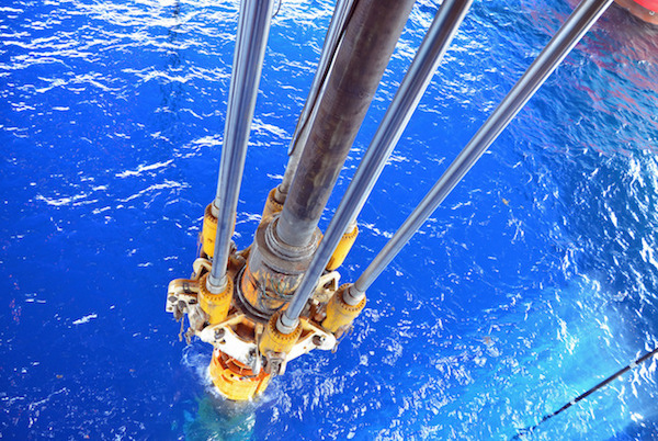 Drilling equipment below a semi-submersible rig in deep Gulf of Mexico waters.