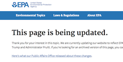 "EPA web page on climate ""being updated."""