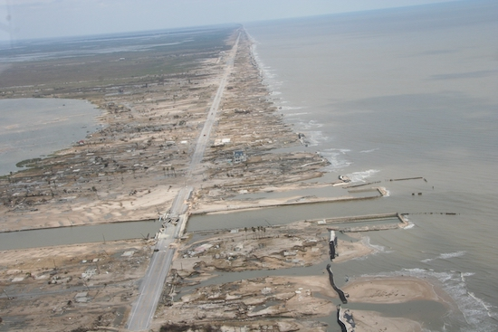 Storm surge damage caused by Hurricane Ike in 2008.