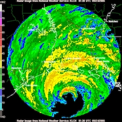 Radar image of Hurricane Rita approaching landfall along the Texas-Louisiana border in September 2005.