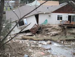 Home damaged by flooding in Jamestown, Colo., in 2013