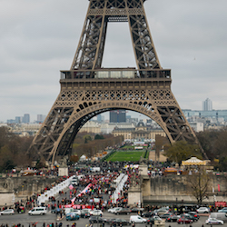 Protesters at the Eiffel Tower during the U.N. climate summit in Paris, December, 2015