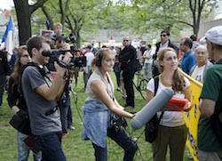 Student journalists from Ryerson University in Toronto, during a protest at City Hall in 2011.
