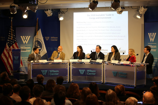 Panelists at an SEJ-Wilson Center event on Jan. 26 warned of numerous showdowns over environment and energy policy in the year ahead. Left to right, moderator Scott Tong of American Public Media's Marketplace; Nirmal Ghosh, U.S. bureau chief for the Straits Times; Ariel Wittenberg of E&E News; Matthew Daly of the Associated Press; Valerie Volcovici of Reuters;  Pat Rizzuto of Bloomberg Environment, and Brady Dennis of the Washington Post.