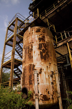 The now-abandoned Union Carbide pesticide plant in Bhopal, India, where in December 1984 a gas leak exposed more than a half-million people to toxic gas, inspiring federal law in the United States requiring risk management plans.