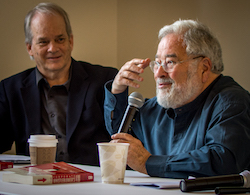"Cognitive scientist George Lakoff, right, and former journalist Glenn Smith, left, urged journalists to consider the ""framework"" through which news consumers read their stories."