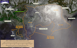 Satellite imagery of the Deepwater Horizon oil spill from June 12, 2010.