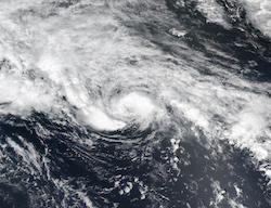 Satellite image of 2017's Hurricane Arlene