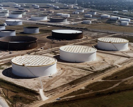 Crude oil storage tanks at a Sunoco terminal near Nederland, Texas.