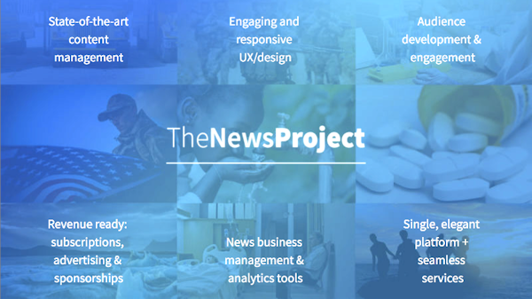 The News Project's product header